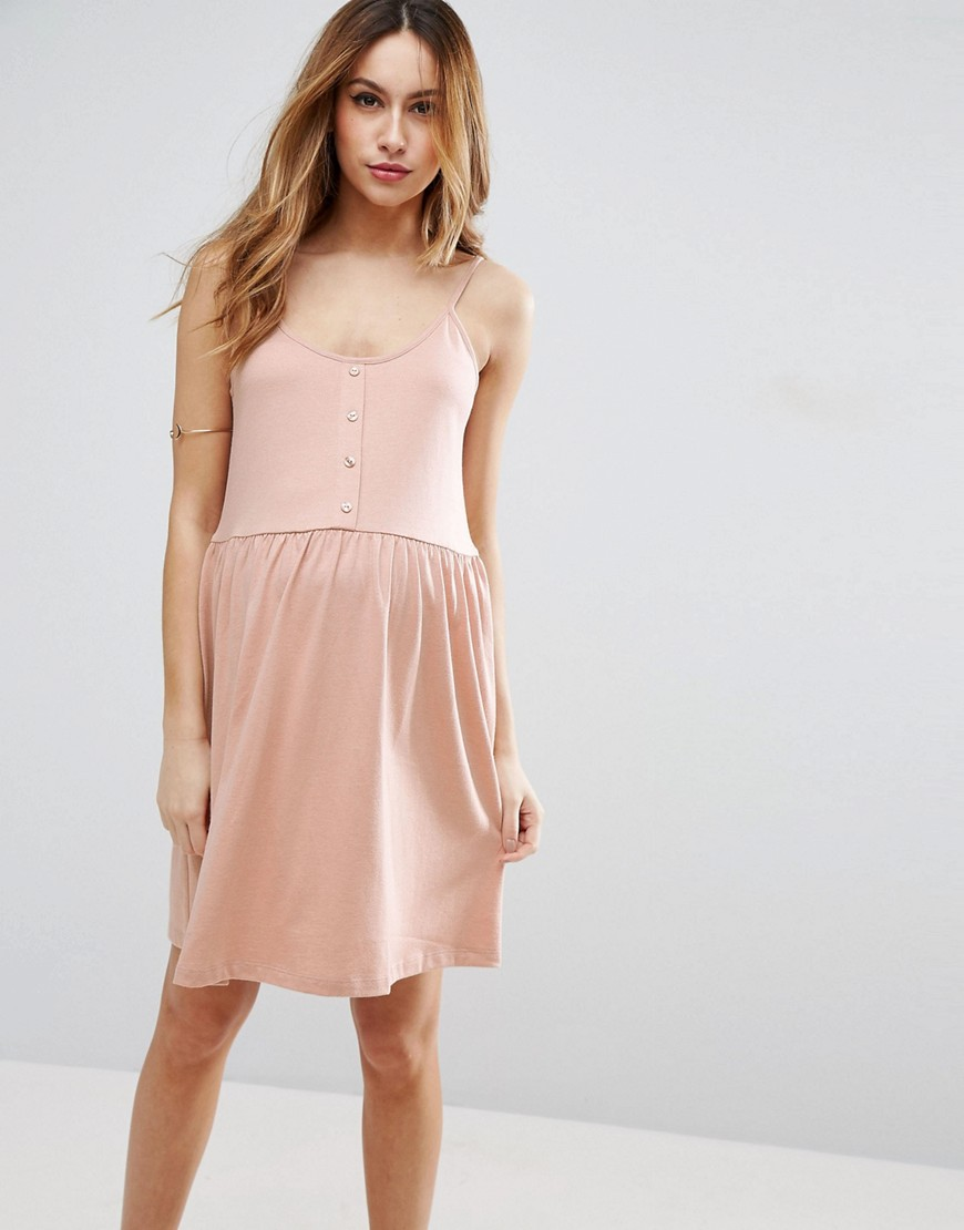 ASOS Maternity Cami Smock Dress With Button Front - Pink