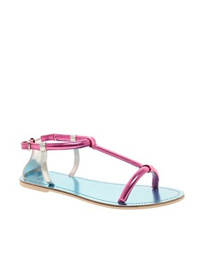 Image 1 ofASOS FAREWELL Metallic Flat Sandals