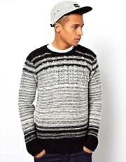 Bellfield Ombre Stripe Cable Knit Jumper
