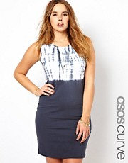 ASOS CURVE Bodycon Mini Dress With Tie Dye Top