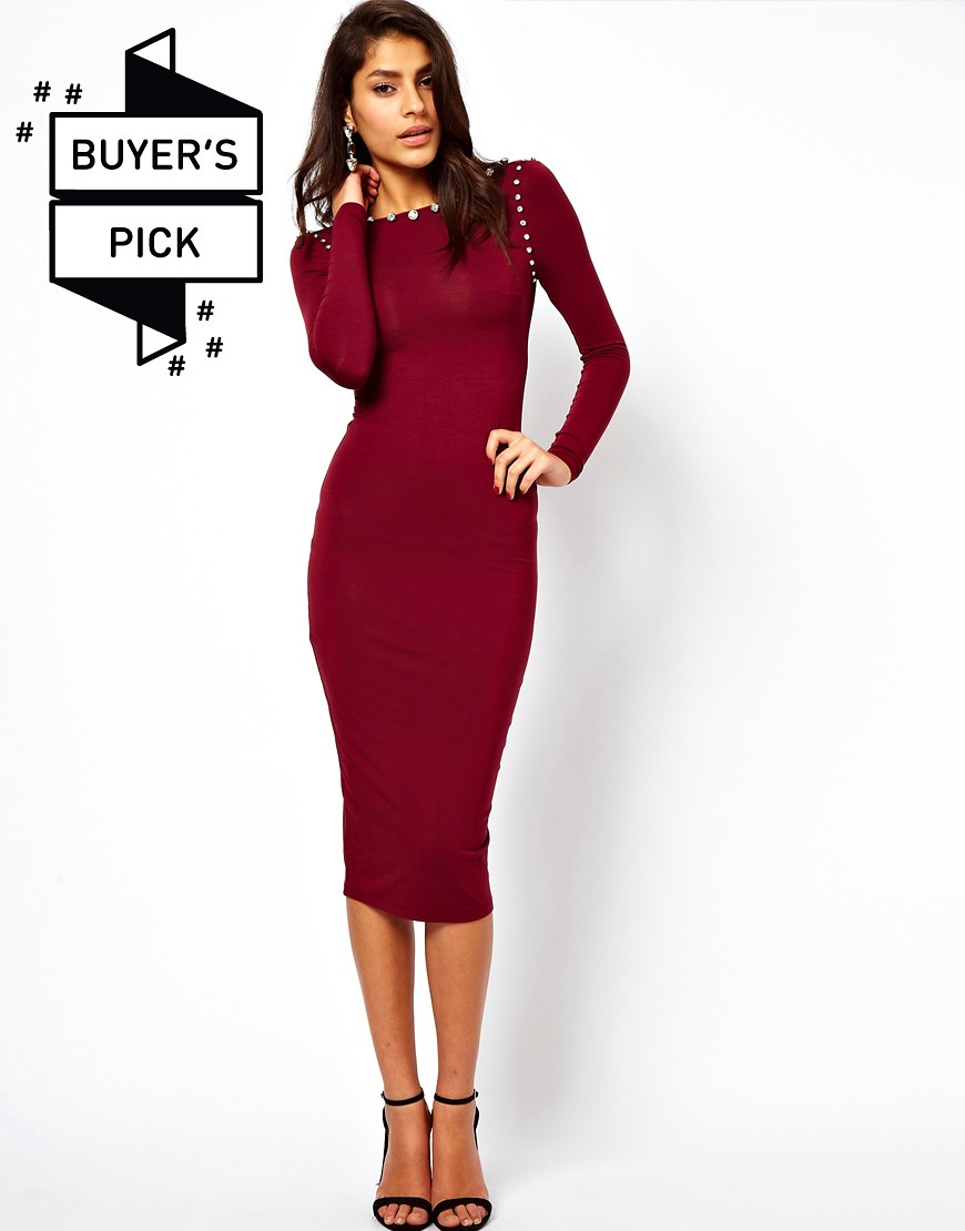 Image 1 of ASOS Midi Bodycon Dress With Jewelled Neckline