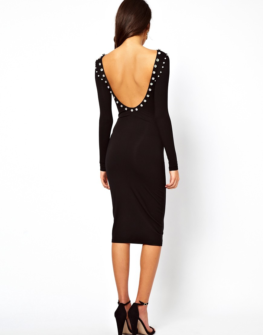 Image 2 of ASOS Midi Bodycon Dress With Jewelled Neckline