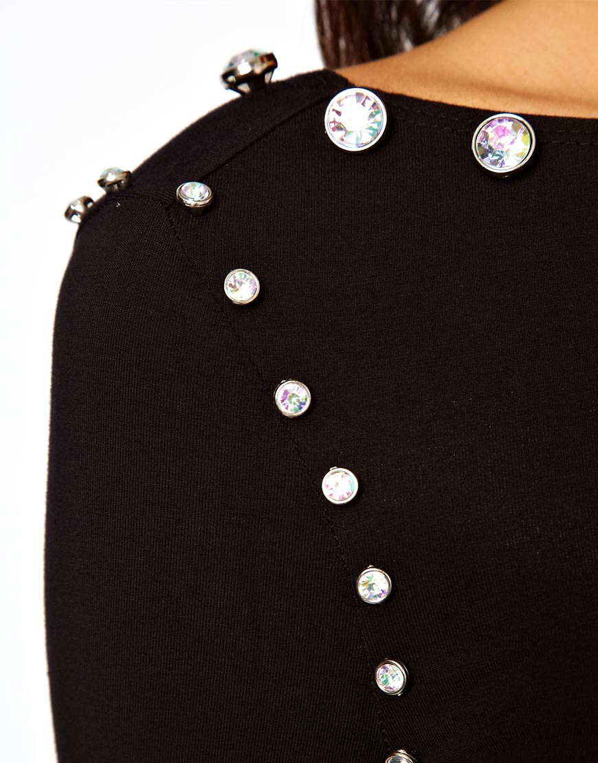 Image 3 of ASOS Midi Bodycon Dress With Jewelled Neckline