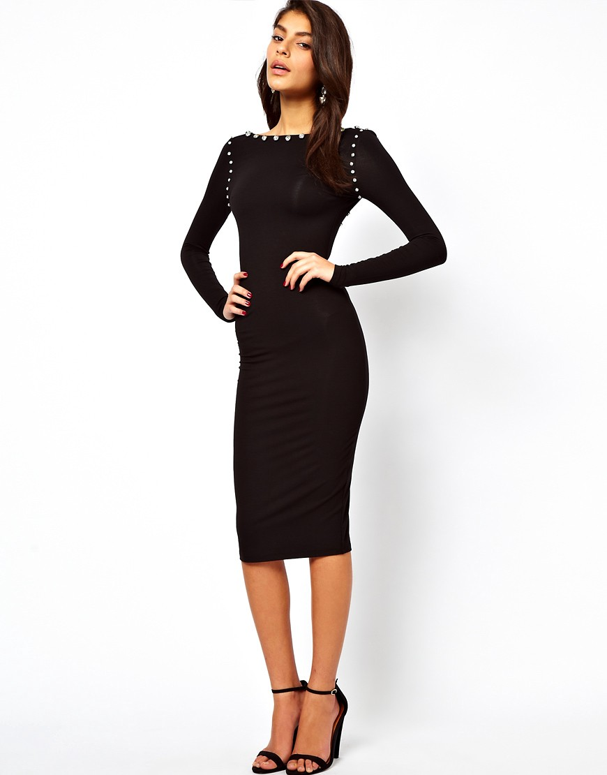 Image 4 of ASOS Midi Bodycon Dress With Jewelled Neckline