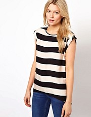 Oasis Dipped Back T-Shirt in Stripe