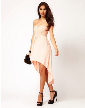 Image 1 ofClub L Lace Corset Dress With Chiffon Hi Lo Skirt