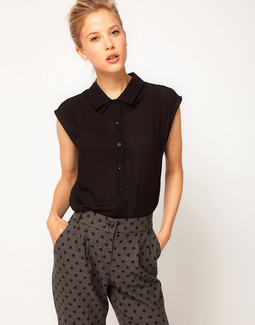 Image 1 of ASOS Blouse With Folded Collar