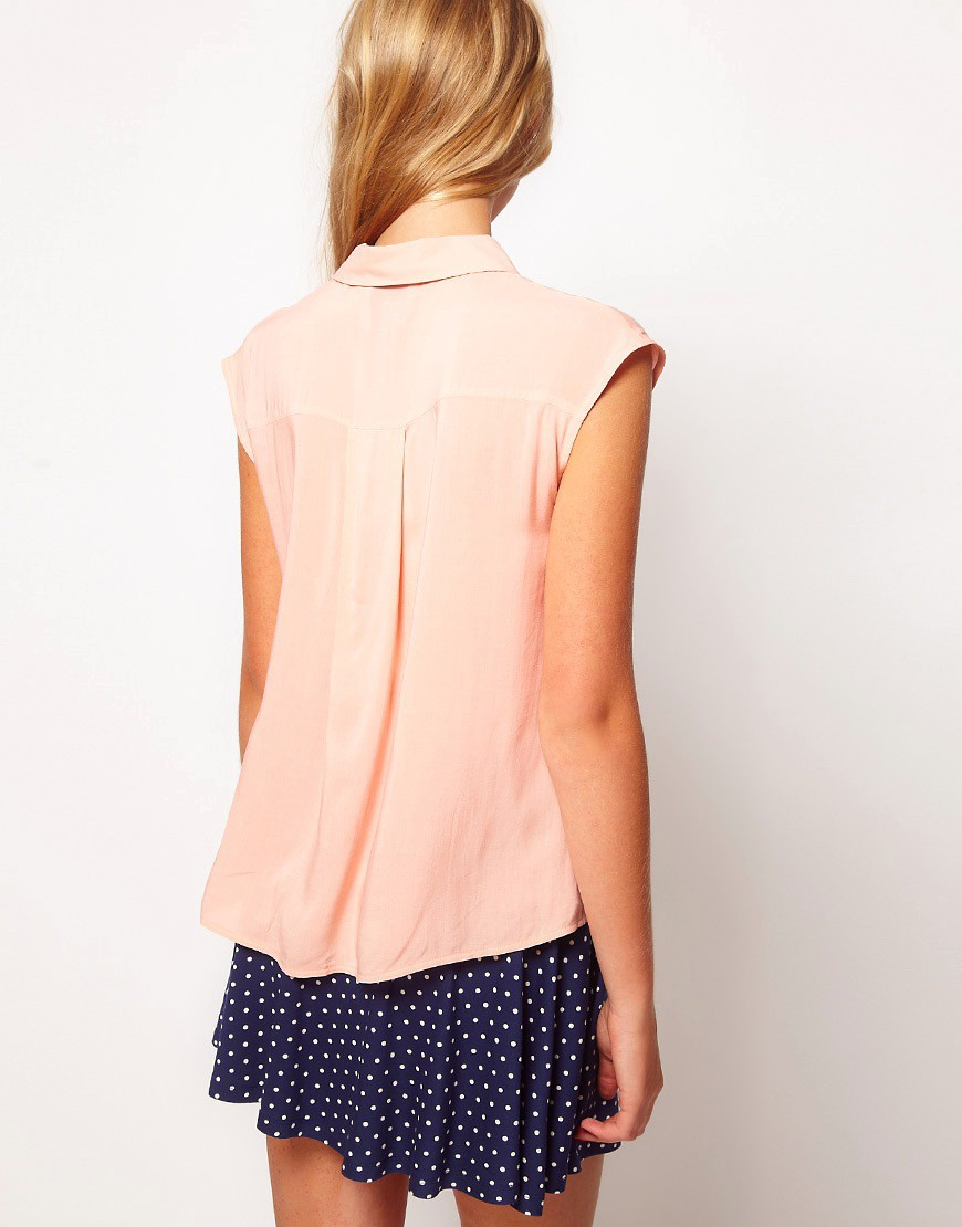 Image 2 of ASOS Blouse With Folded Collar