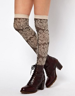 Image 1 ofASOS Over The Knee Sock With Floral Pattern