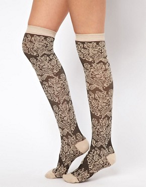 Image 2 ofASOS Over The Knee Sock With Floral Pattern
