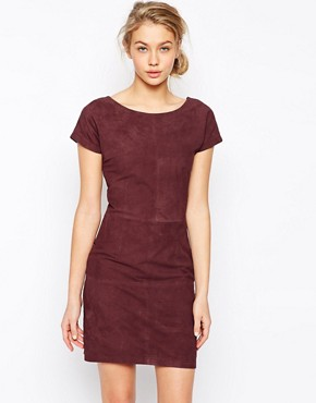 Ganni Ingrid Suede Short Sleeve Dress