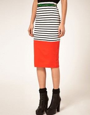 Image 4 ofASOS Colourblock Stripe Pencil Skirt With Belt