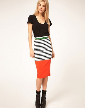Image 1 ofASOS Colourblock Stripe Pencil Skirt With Belt