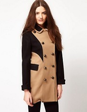 French Connection Wool Mix Colour Block Coat
