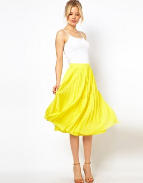Image 1 ofASOS Midi Skirt with Pleats