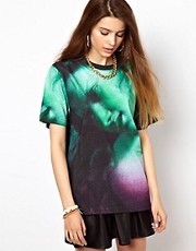 Illustrated People All Over Digital Wing Print Oversized T-Shirt