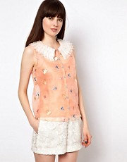 Nishe Blouse With Shoe Embroidery and Frill Collar