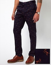 ASOS Skinny Fit Smart Trousers in Scorpion Print
