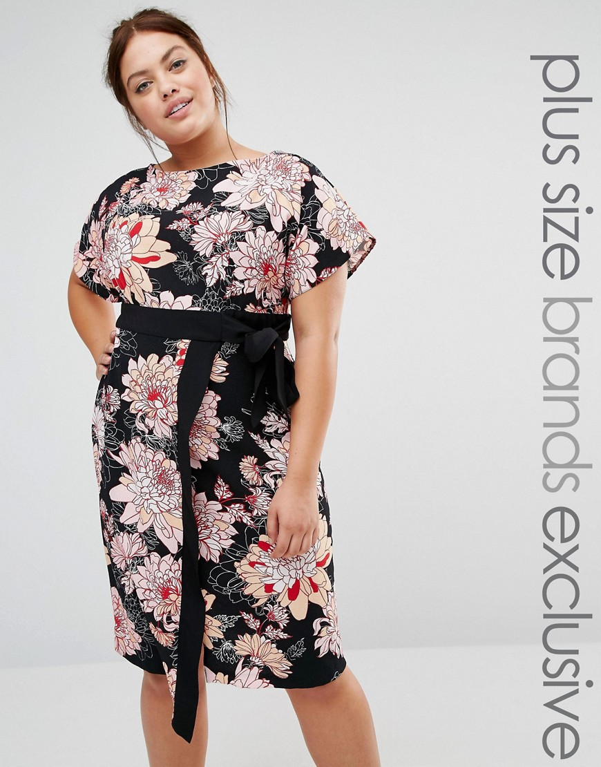 Closet Plus Floral Printed Wrap Dress With Contrast Tie Detail - Multi