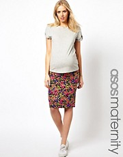 ASOS Maternity Pencil Skirt in Pansy Floral