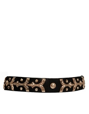 Image 1 ofASOS Brocade Metal Plate Waist Belt