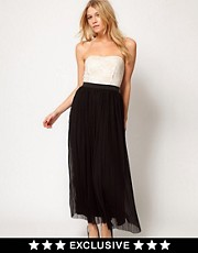 Love Pleat Maxi Dress with Lace Bandeau and Pleats