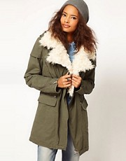ASOS Biker Parka with Faux Fur Collar