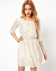 Love 3/4 Length Sleeve Dress With Metallic Spots