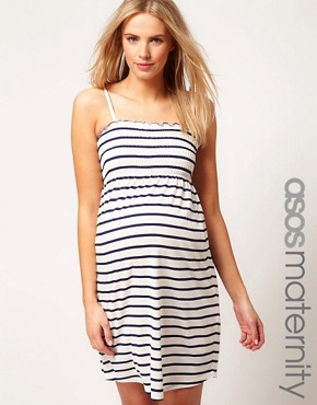 Image 1 ofASOS Maternity Sundress In Stripe With Tie Shoulders