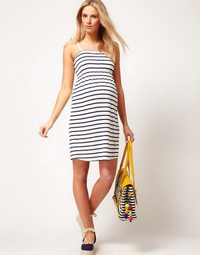 Image 4 ofASOS Maternity Sundress In Stripe With Tie Shoulders