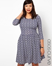 ASOS CURVE Exclusive Skater Dress In Geo Print