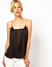 ASOS Cami With Deep V-Neck And Mesh Panel