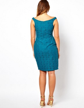 Image 2 ofASOS CURVE Lace Dress With Off The Shoulder