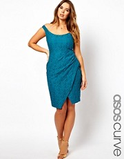 ASOS CURVE Lace Dress With Off The Shoulder