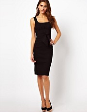 Vesper Pencil Dress with Tie Front