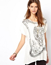 Zadig and Voltaire Skull Print Linen Mix Tee