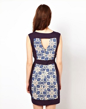 Image 2 ofWarehouse Tile Print Shift Dress