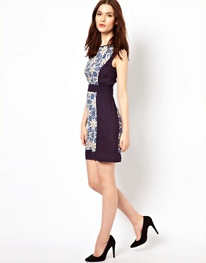Image 4 ofWarehouse Tile Print Shift Dress