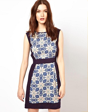 Image 1 ofWarehouse Tile Print Shift Dress