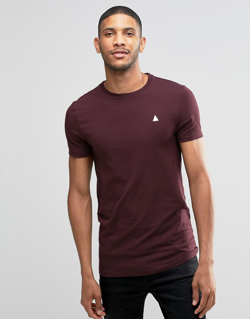 ASOS Longline Muscle T-Shirt With Crew Neck And Logo In Oxblood - Red