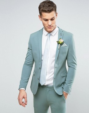 ASOS Super Skinny Suit Jacket In Pastel Blue