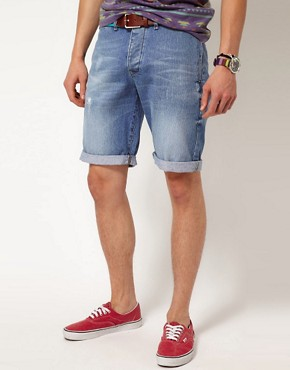 Image 1 ofASOS Denim Short In Light Blue