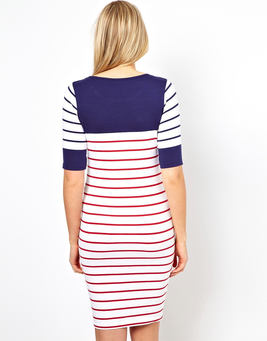 Image 2 of ASOS Maternity Exclusive Bodycon Dress with Colour Block Stripe