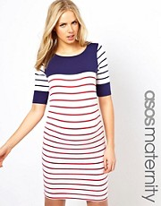 ASOS Maternity  Exklusives, figurbetontes Kleid mit Streifen in Blockfarbe