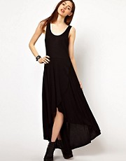 Just Female Wrapped Maxi Dress With Hi Lo Hem