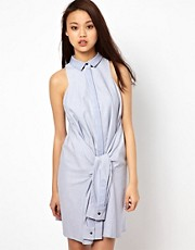 Antipodium Reflect Shirt Dress In Blue Chambray With Sleeve Belt