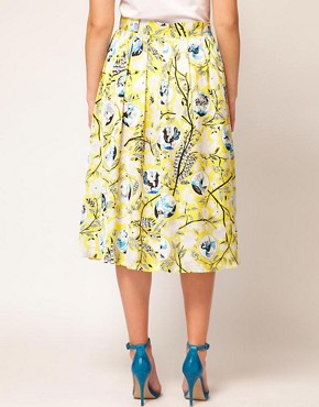 Image 2 ofASOS CURVE Exclusive Midi Skirt In Yellow Print