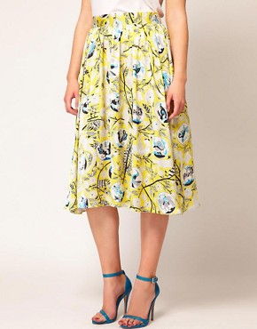Image 4 ofASOS CURVE Exclusive Midi Skirt In Yellow Print