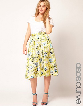 Image 1 ofASOS CURVE Exclusive Midi Skirt In Yellow Print
