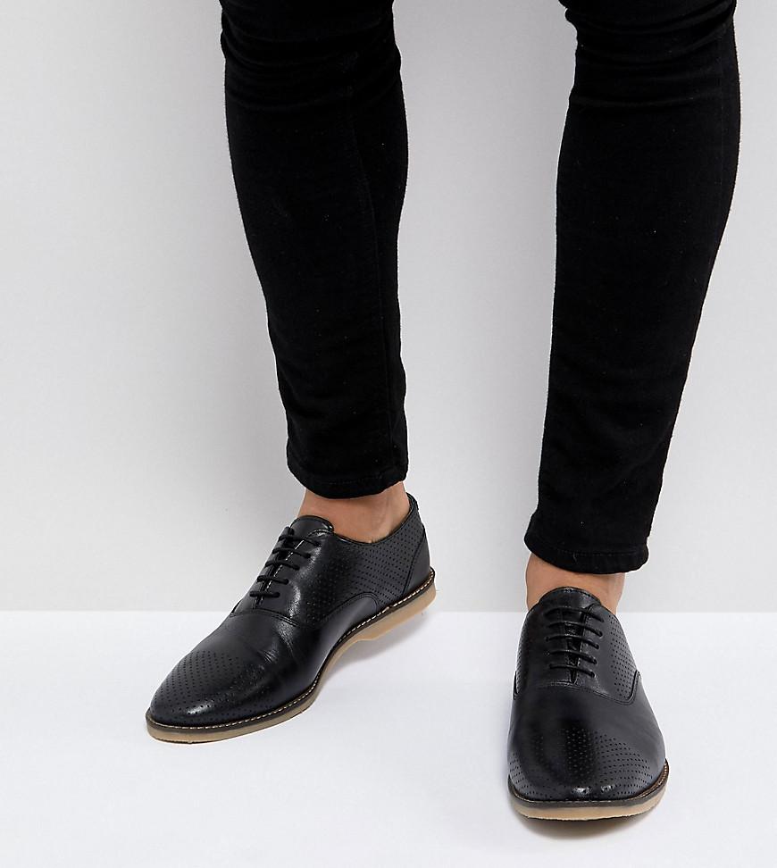 Черные кожаные туфли в стиле casual на шнуровке для широкой стопы с пе